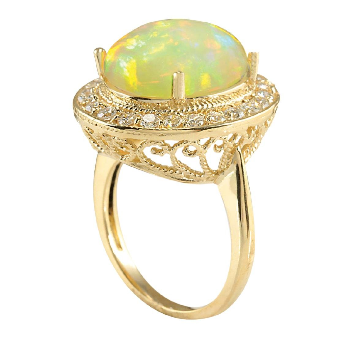 7.21CTW Natural Opal And Diamond Ring In 18K Solid - 3