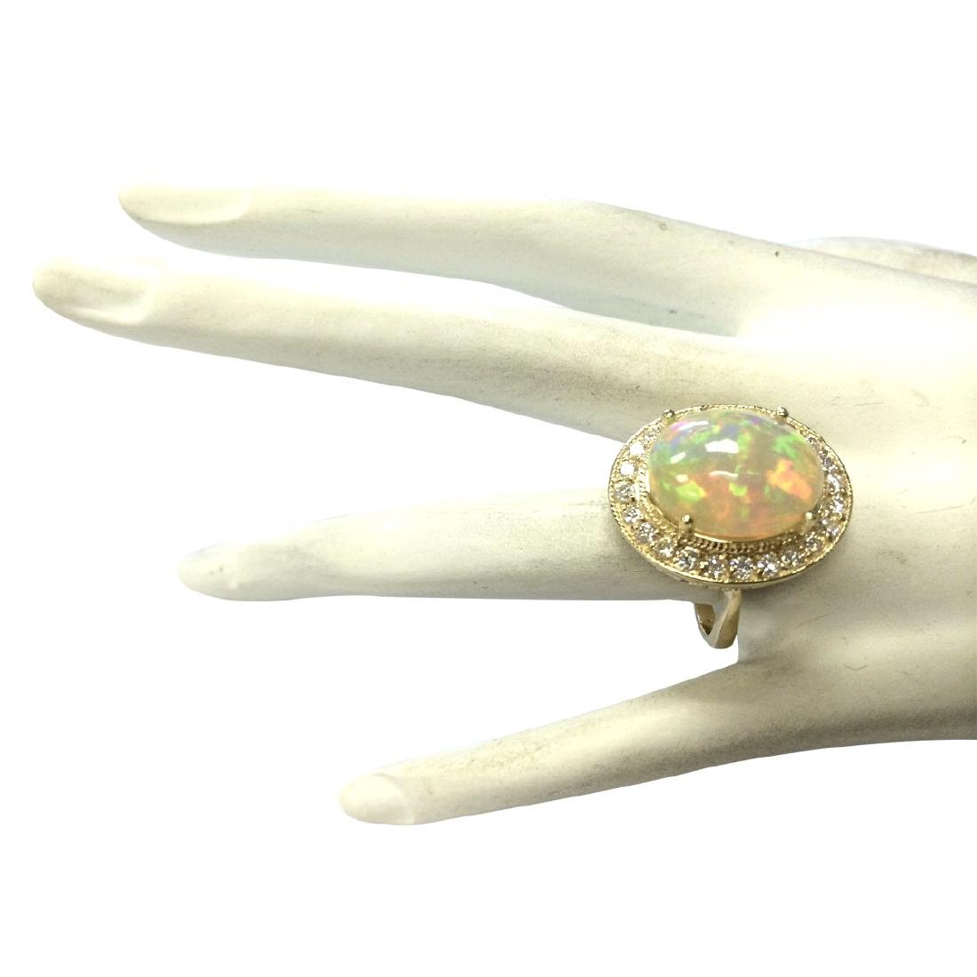7.21CTW Natural Opal And Diamond Ring In 18K Solid - 4