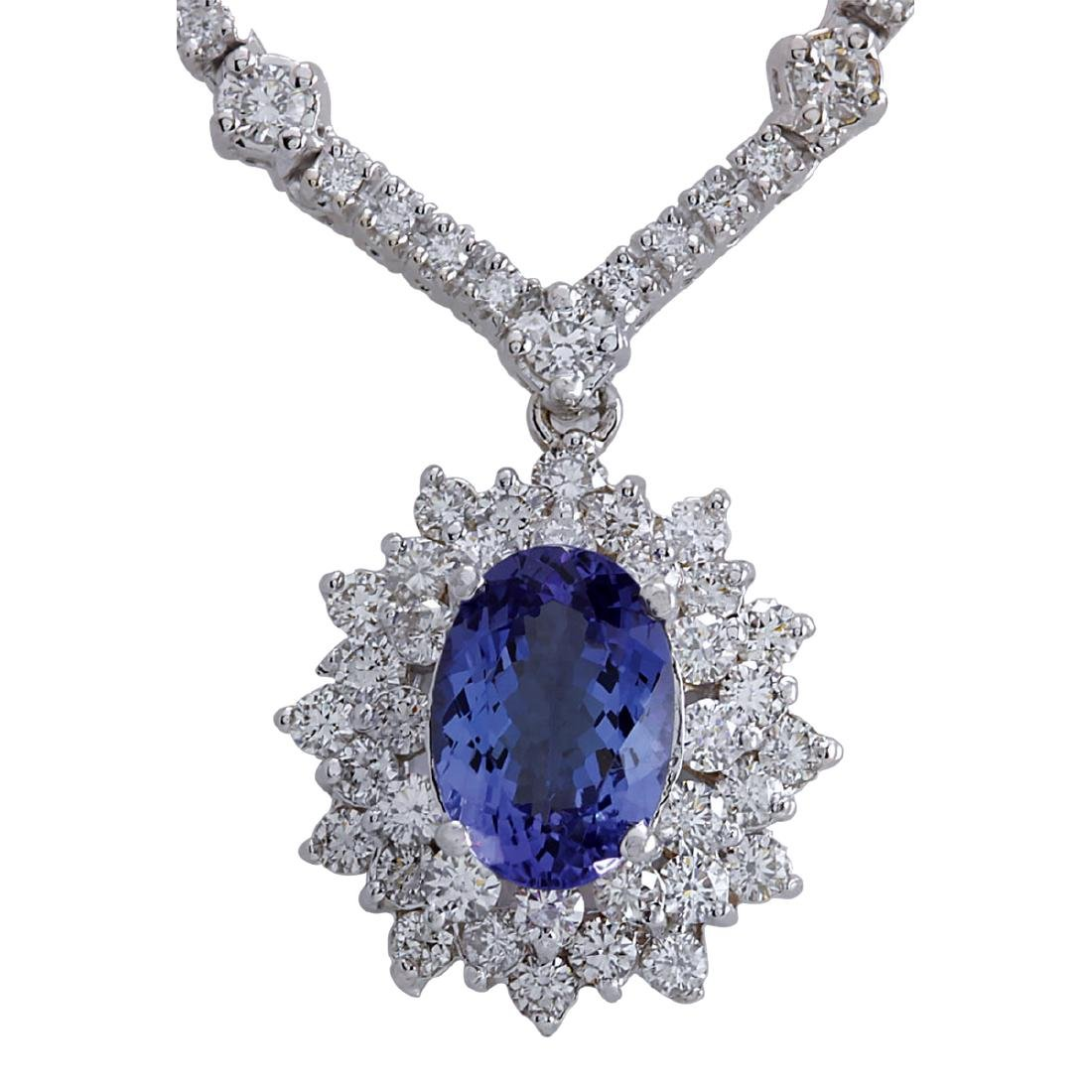8.41CTW Natural Tanzanite And Diamond Necklace In 18K