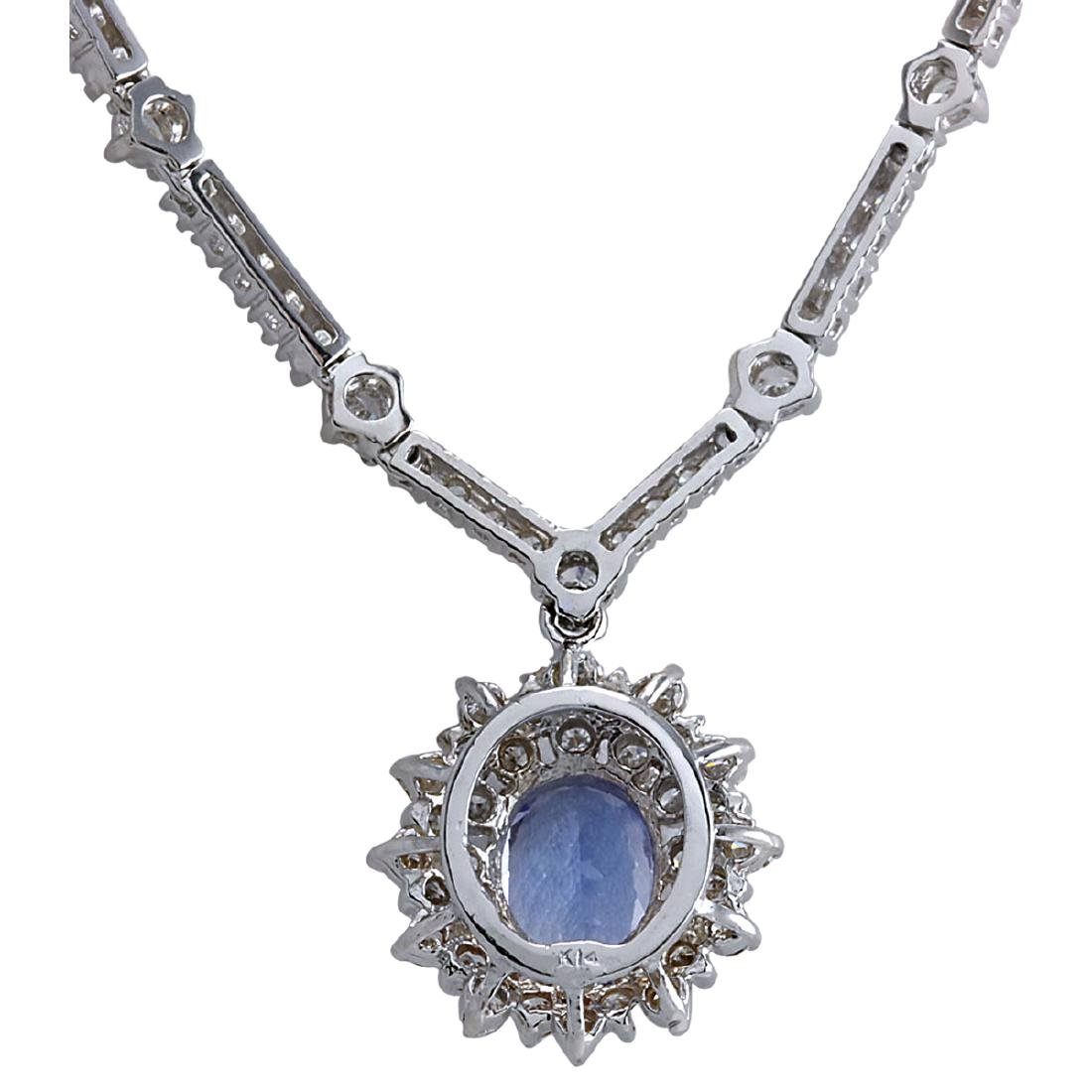 8.41CTW Natural Tanzanite And Diamond Necklace In 18K - 2