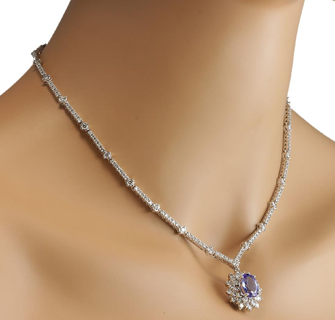 8.41CTW Natural Tanzanite And Diamond Necklace In 18K - 4