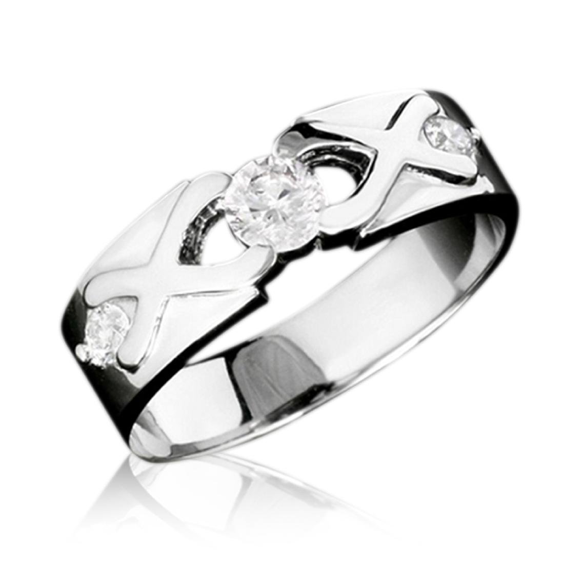 Mens 0.48 Carat Natural Diamond 18K Solid White Gold