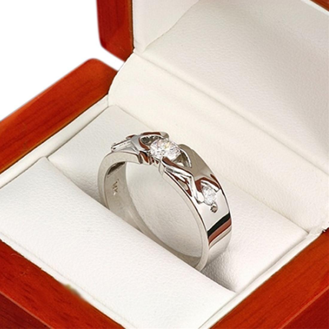 Mens 0.48 Carat Natural Diamond 18K Solid White Gold - 2
