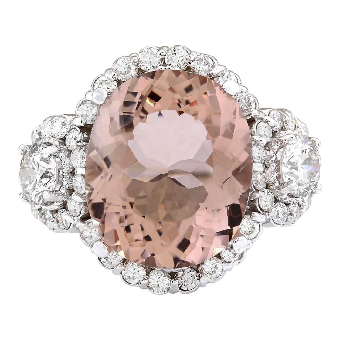 7.21 CTW Natural Morganite And Diamond Ring In 18K