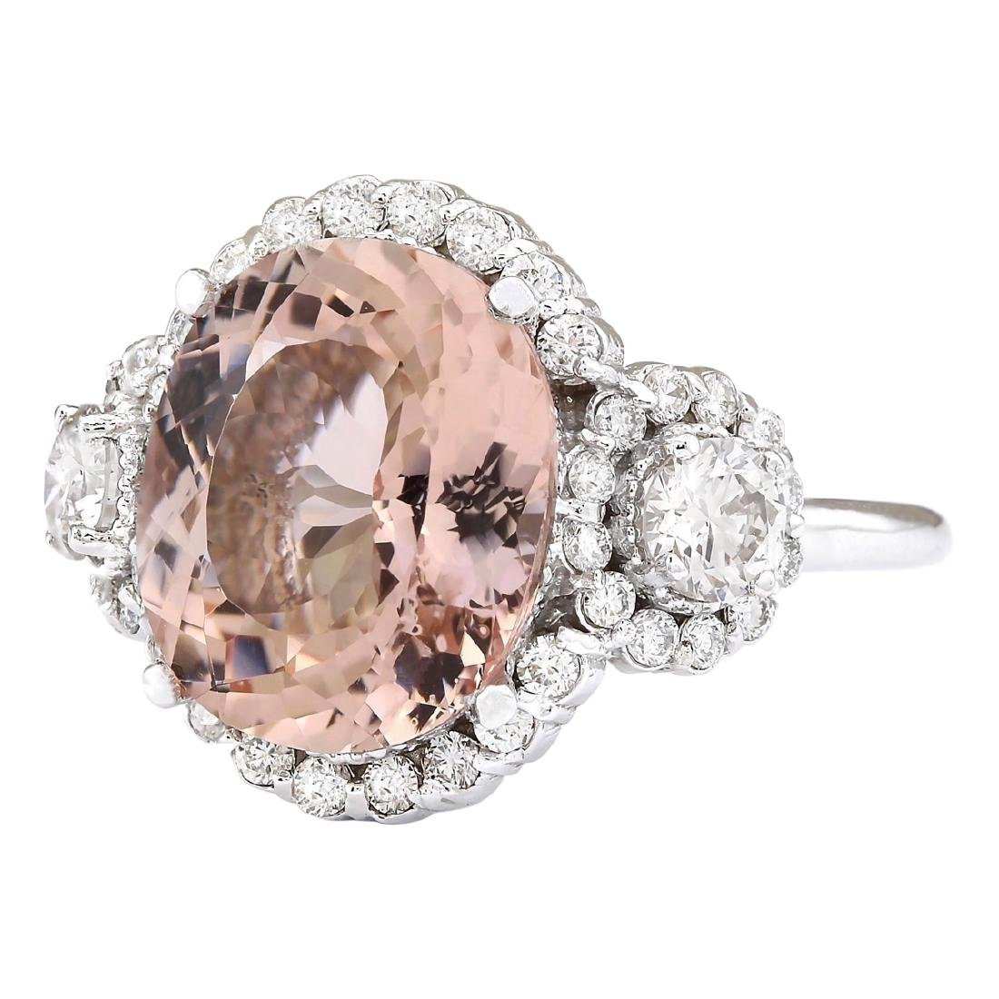 7.21 CTW Natural Morganite And Diamond Ring In 18K - 2