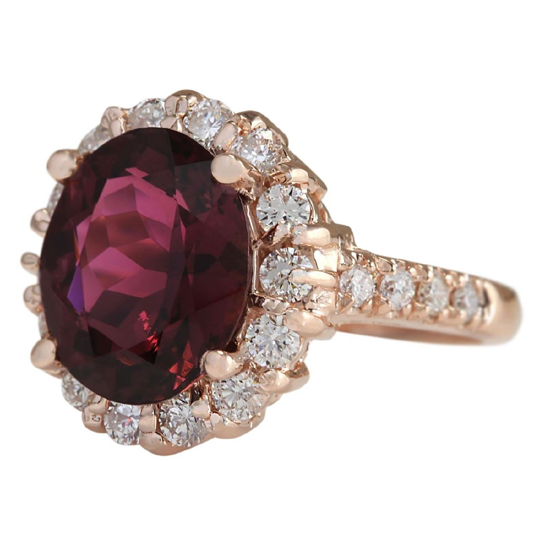 5.50 CTW Natural Pink Red Tourmaline And Diamond Ring - 2