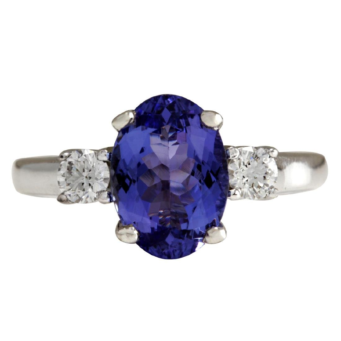2.81CTW Natural Tanzanite And Diamond Ring 18K Solid
