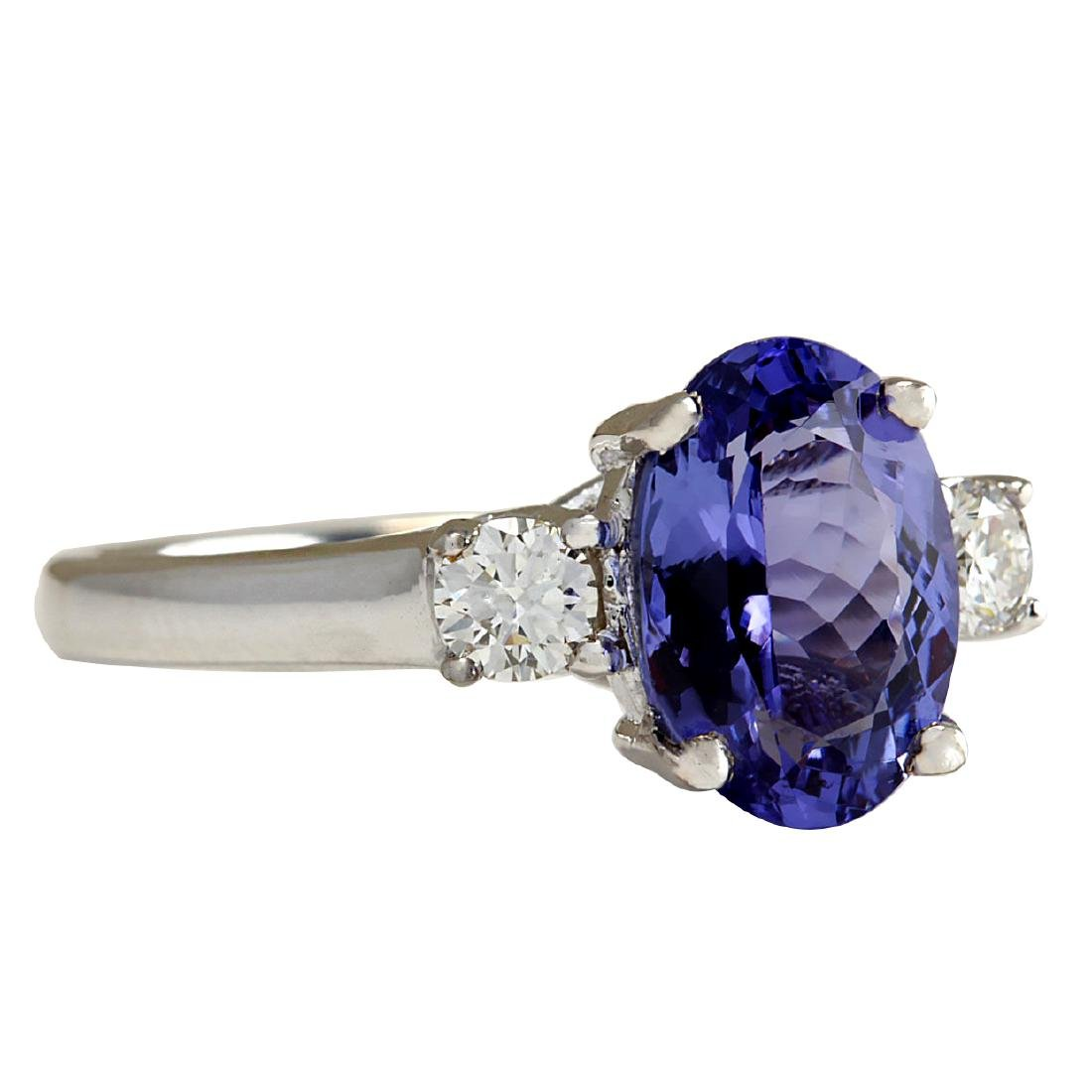 2.81CTW Natural Tanzanite And Diamond Ring 18K Solid - 2