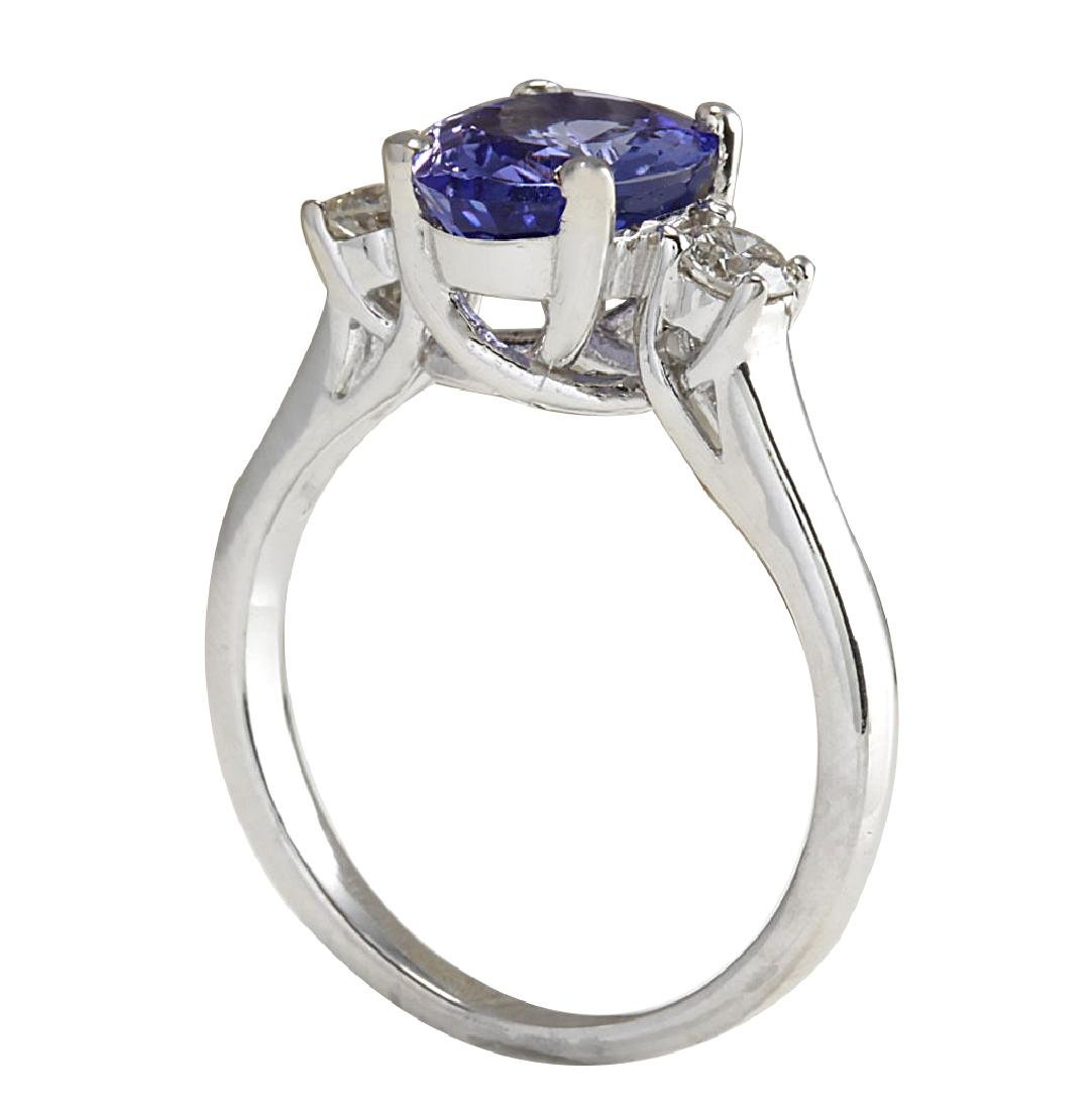 2.81CTW Natural Tanzanite And Diamond Ring 18K Solid - 3