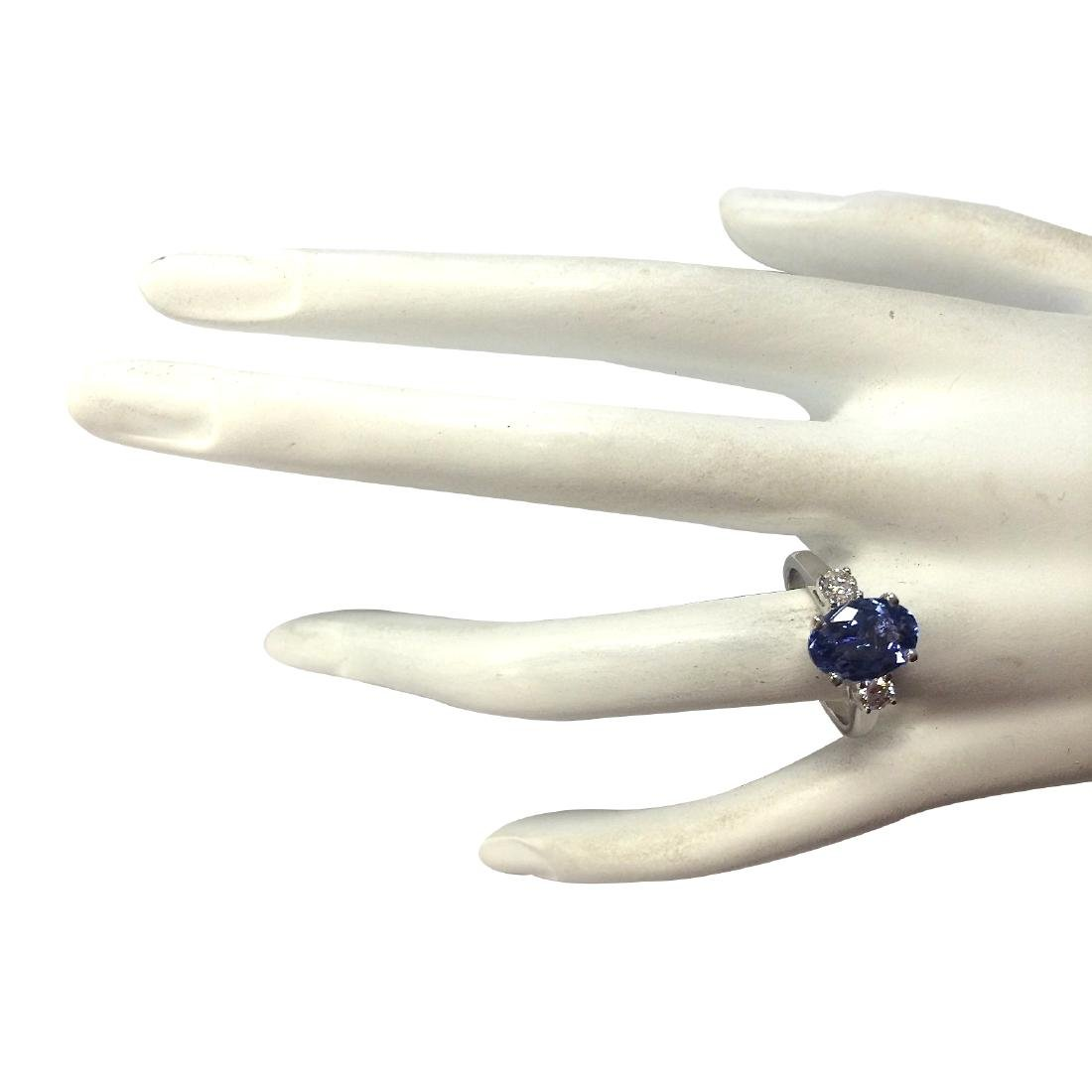 2.81CTW Natural Tanzanite And Diamond Ring 18K Solid - 4