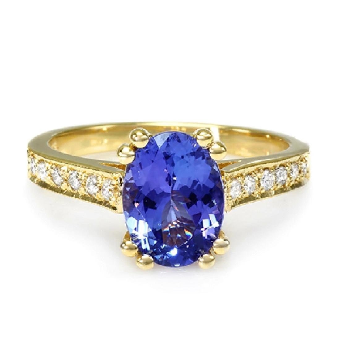 2.15 Carat Natural Tanzanite 18K Solid Yellow Gold