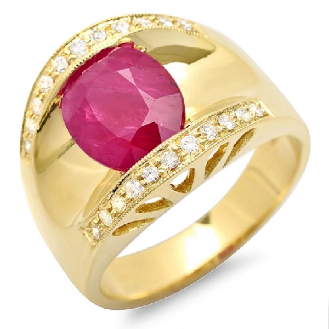 2.87 Carat Natural Ruby 18K Solid Yellow Gold Diamond