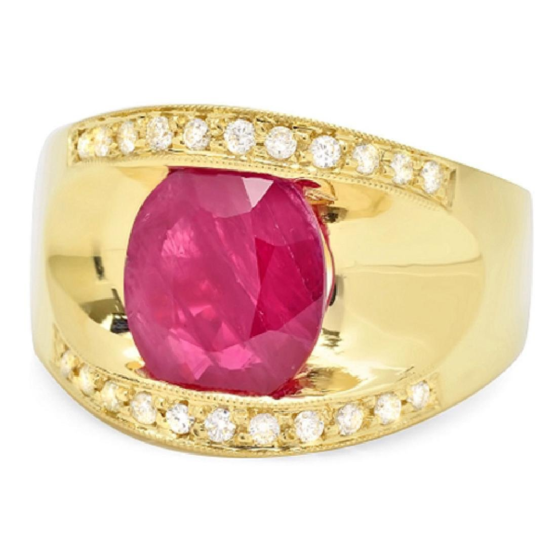 2.87 Carat Natural Ruby 18K Solid Yellow Gold Diamond - 2