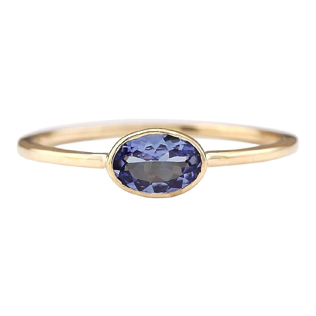 0.60 CTW Natural Blue Tanzanite Ring 18K Solid Yellow