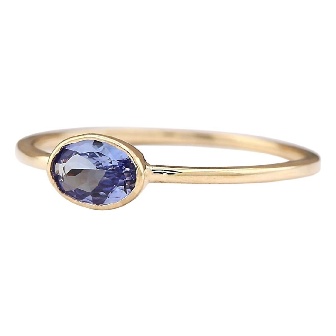 0.60 CTW Natural Blue Tanzanite Ring 18K Solid Yellow - 2