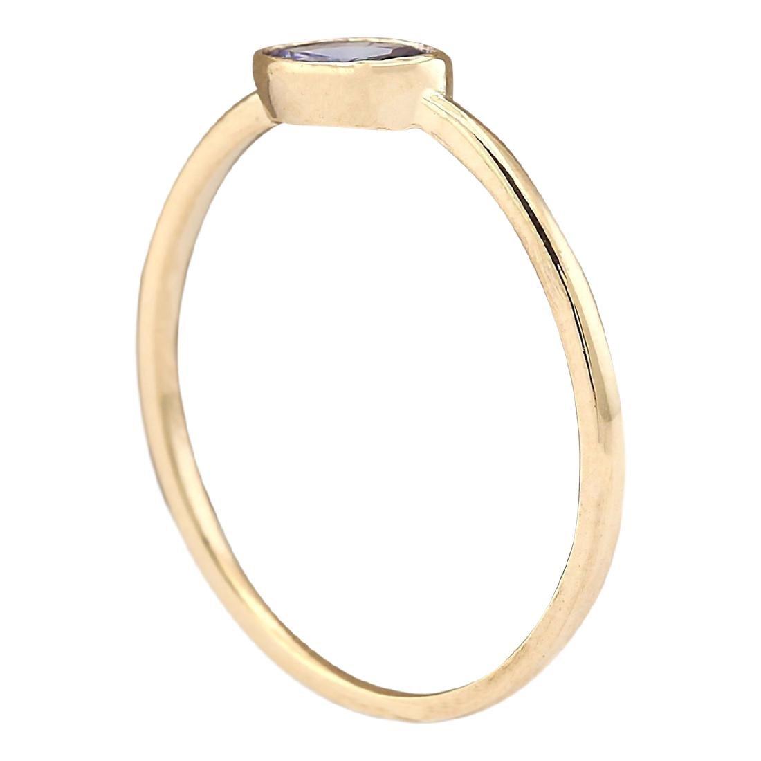 0.60 CTW Natural Blue Tanzanite Ring 18K Solid Yellow - 3