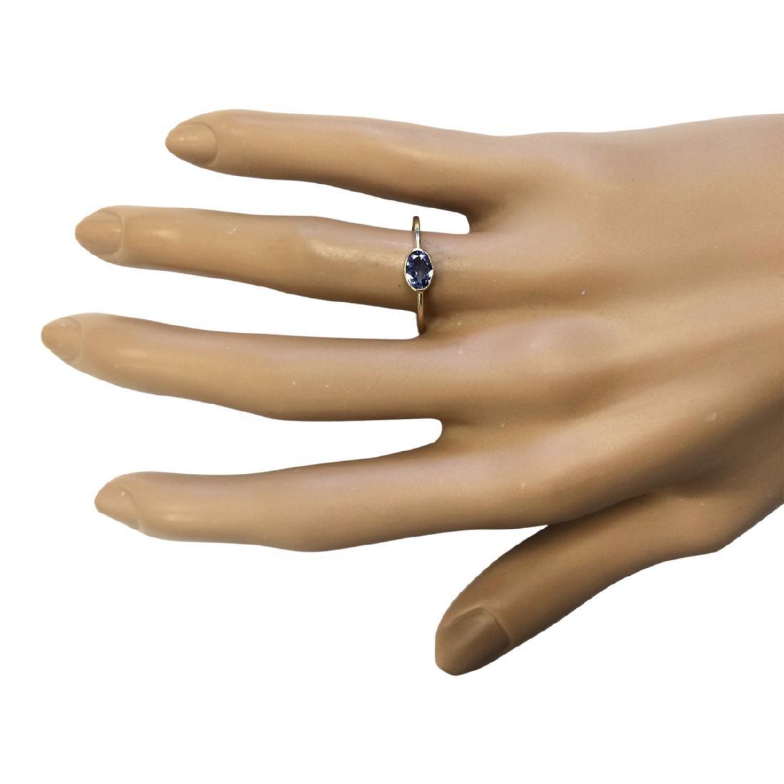 0.60 CTW Natural Blue Tanzanite Ring 18K Solid Yellow - 4
