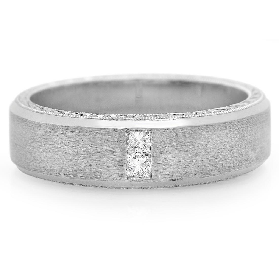 Mens 0.13 Carat Natural Diamond 18K Solid White Gold