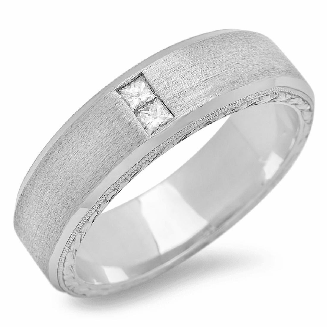 Mens 0.13 Carat Natural Diamond 18K Solid White Gold - 2
