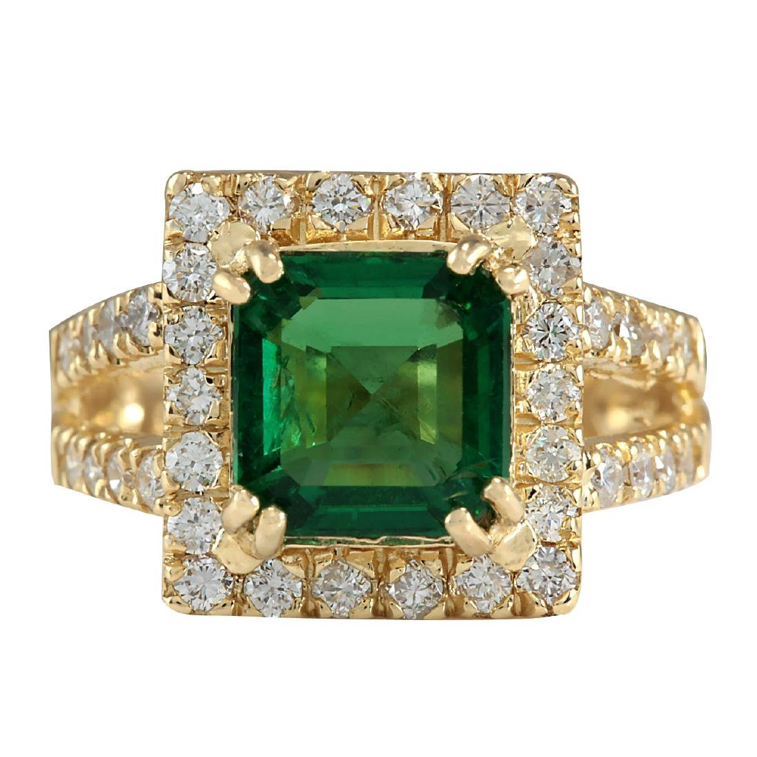 3.37CTW Natural Emerald And Diamond Ring In 18K Yellow
