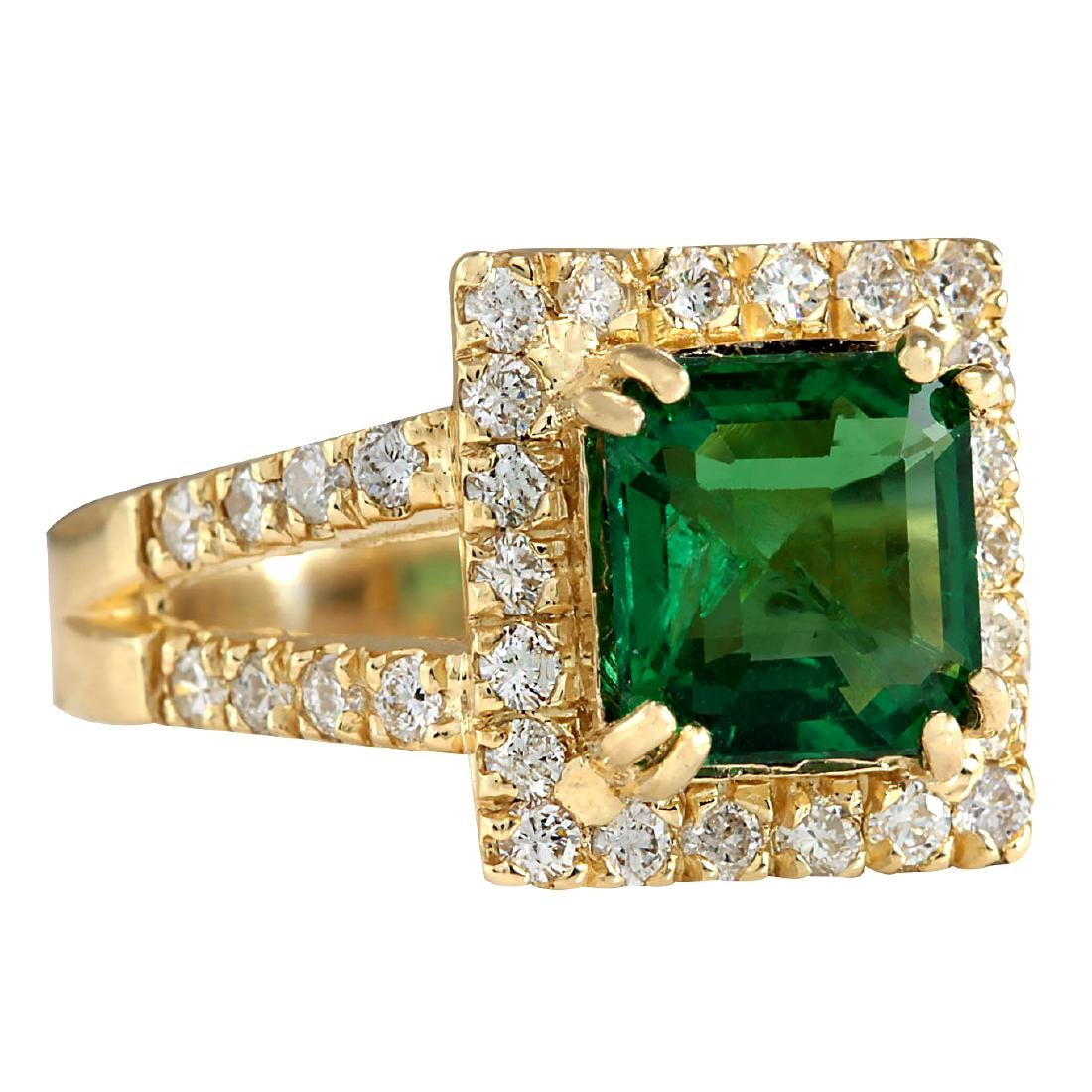 3.37CTW Natural Emerald And Diamond Ring In 18K Yellow - 2