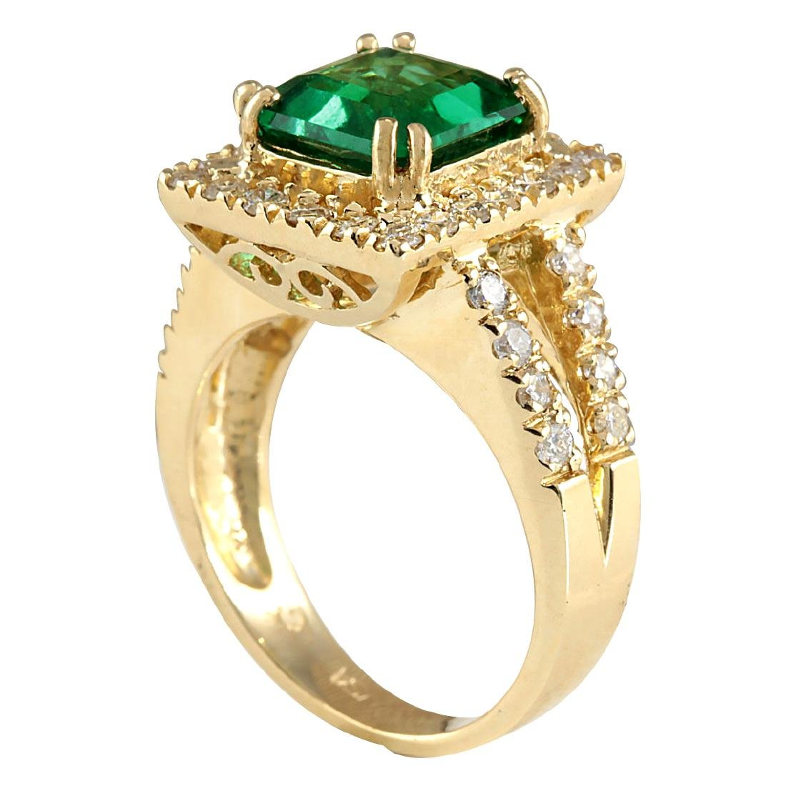 3.37CTW Natural Emerald And Diamond Ring In 18K Yellow - 3