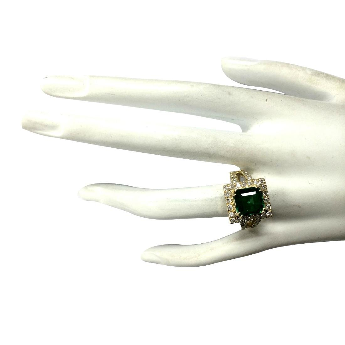 3.37CTW Natural Emerald And Diamond Ring In 18K Yellow - 4
