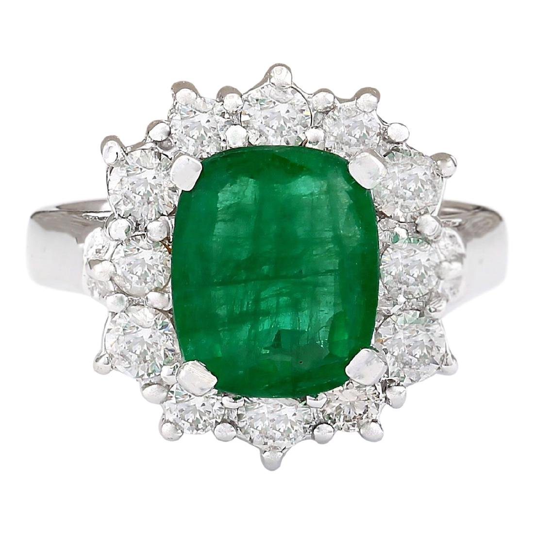 3.20 CTW Natural Emerald And Diamond Ring In 18K White