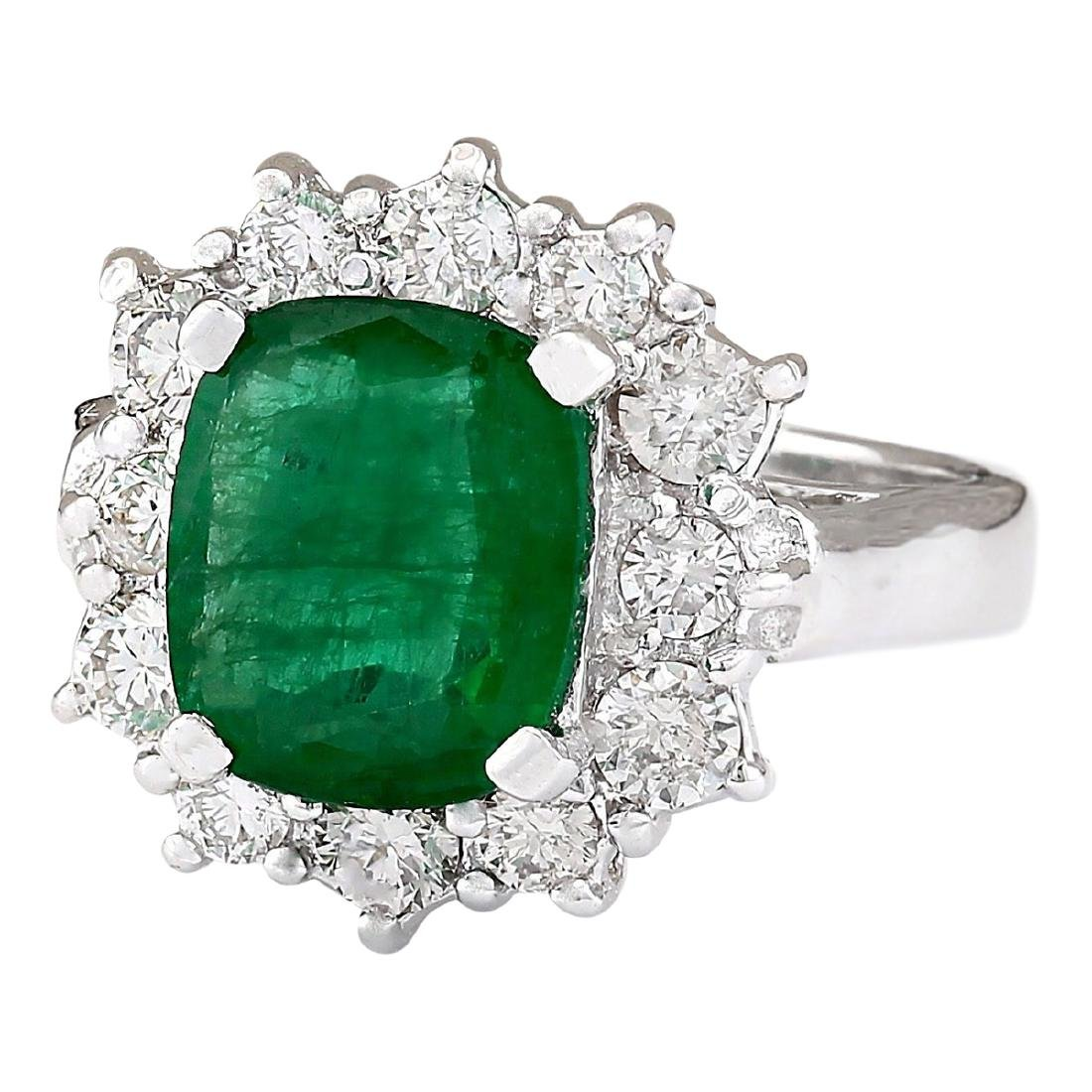 3.20 CTW Natural Emerald And Diamond Ring In 18K White - 2