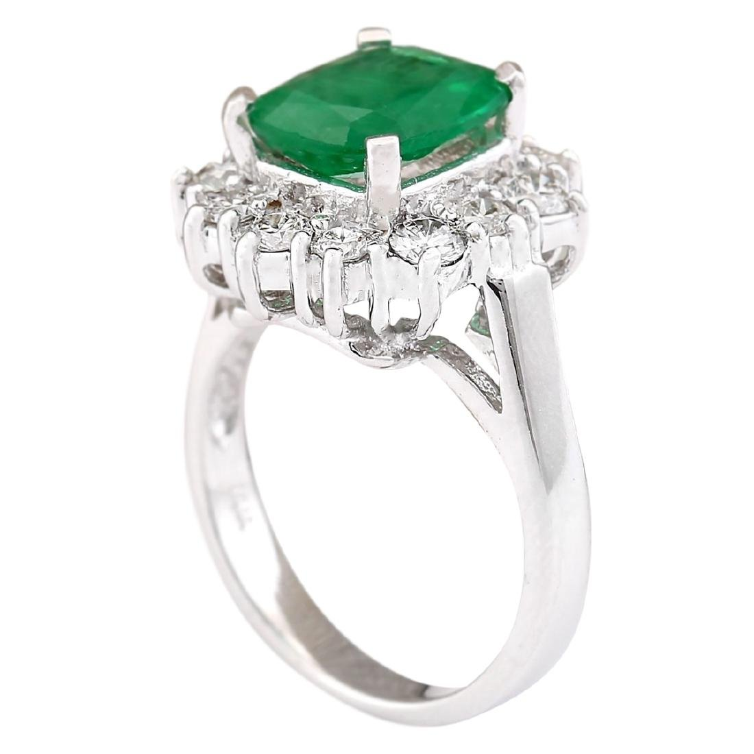 3.20 CTW Natural Emerald And Diamond Ring In 18K White - 3