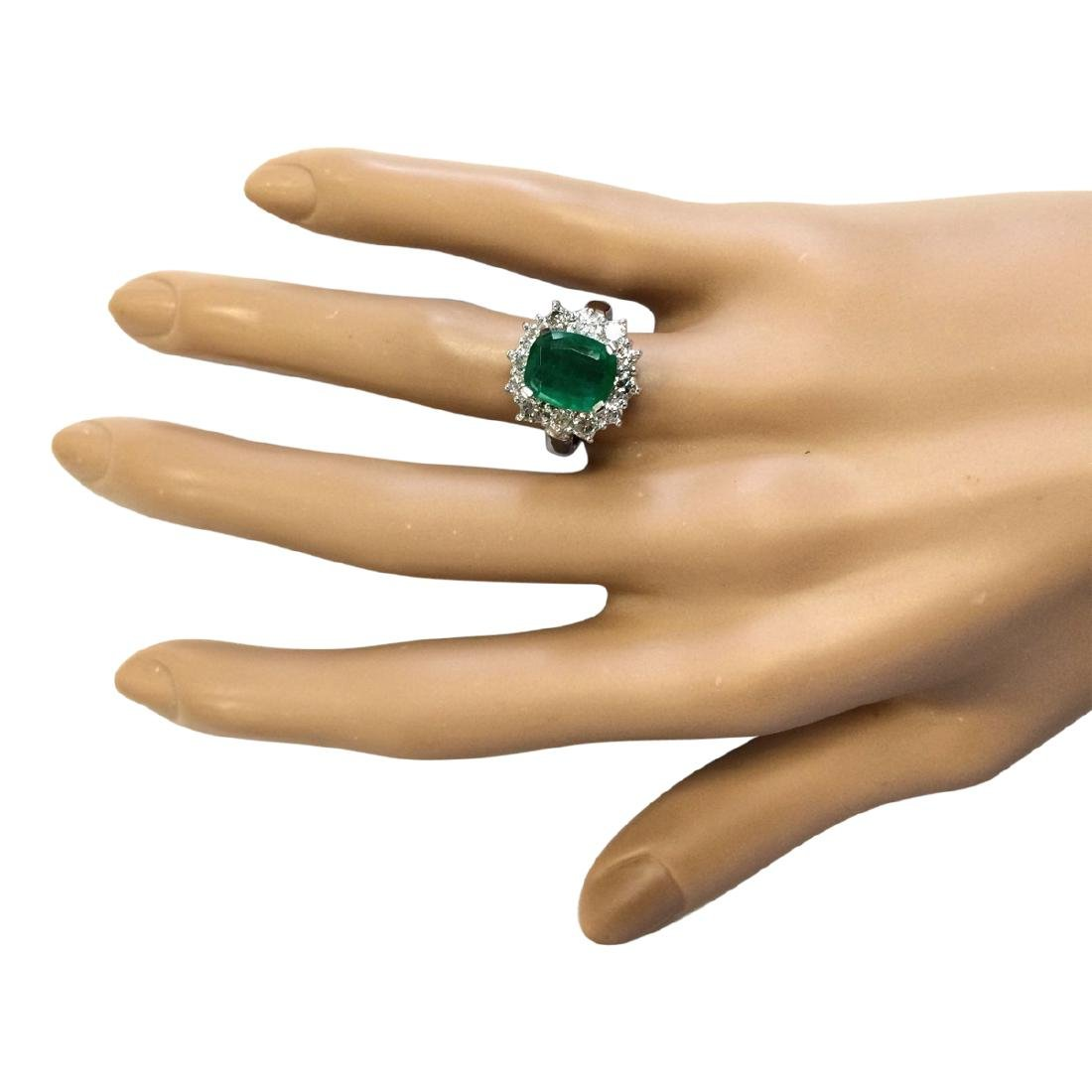 3.20 CTW Natural Emerald And Diamond Ring In 18K White - 4