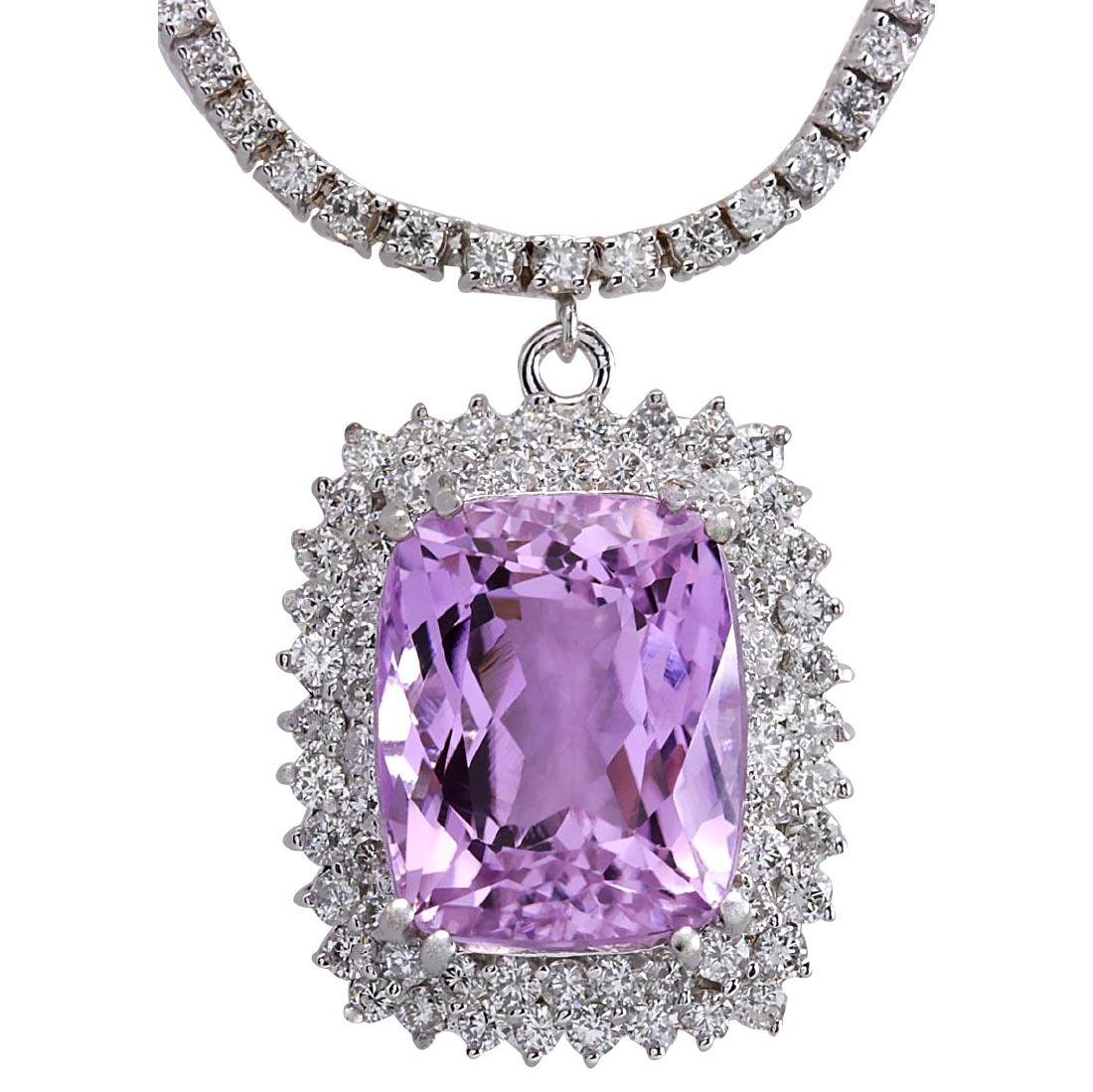 24.17CTW Natural Kunzite And Diamond Necklace In 18K