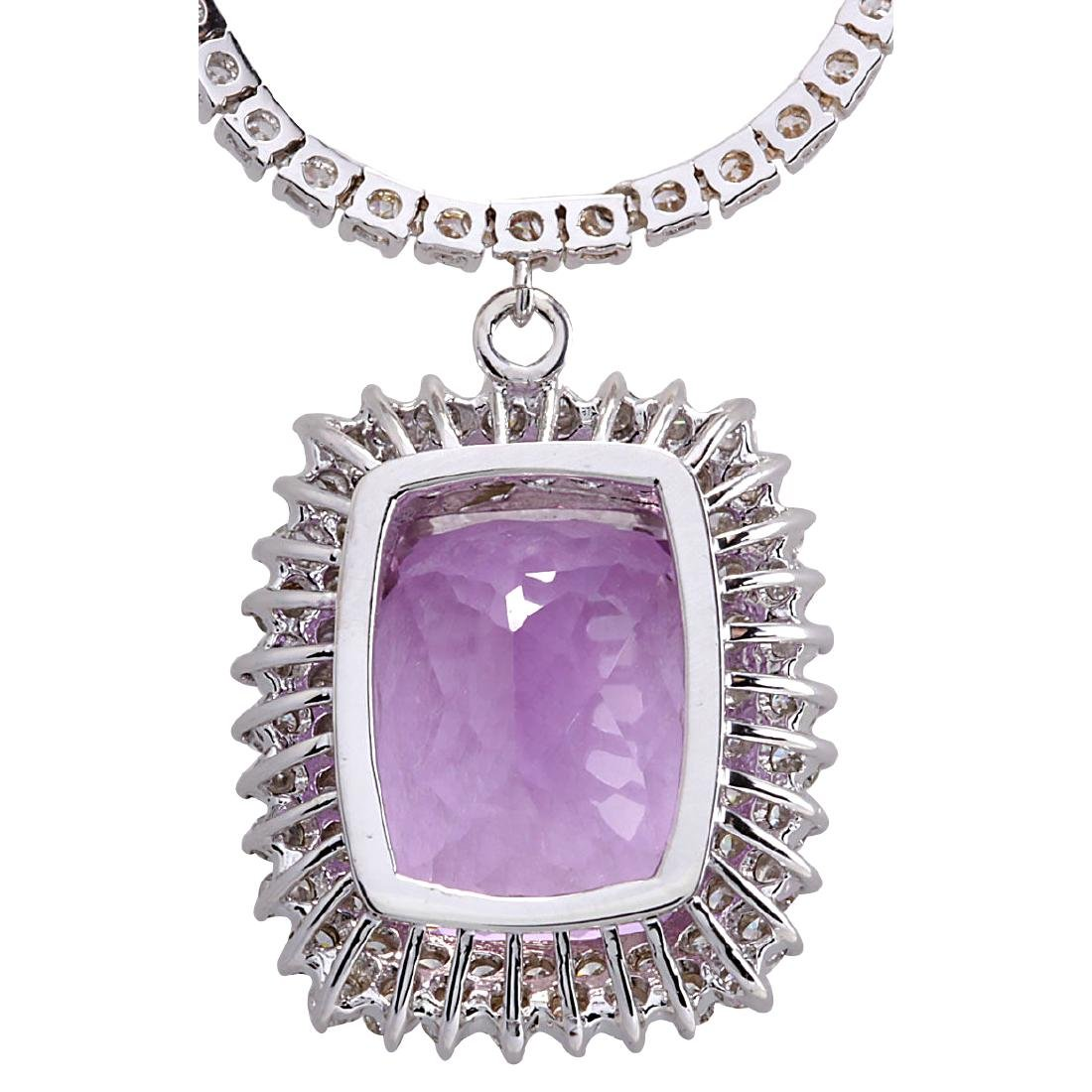 24.17CTW Natural Kunzite And Diamond Necklace In 18K - 2