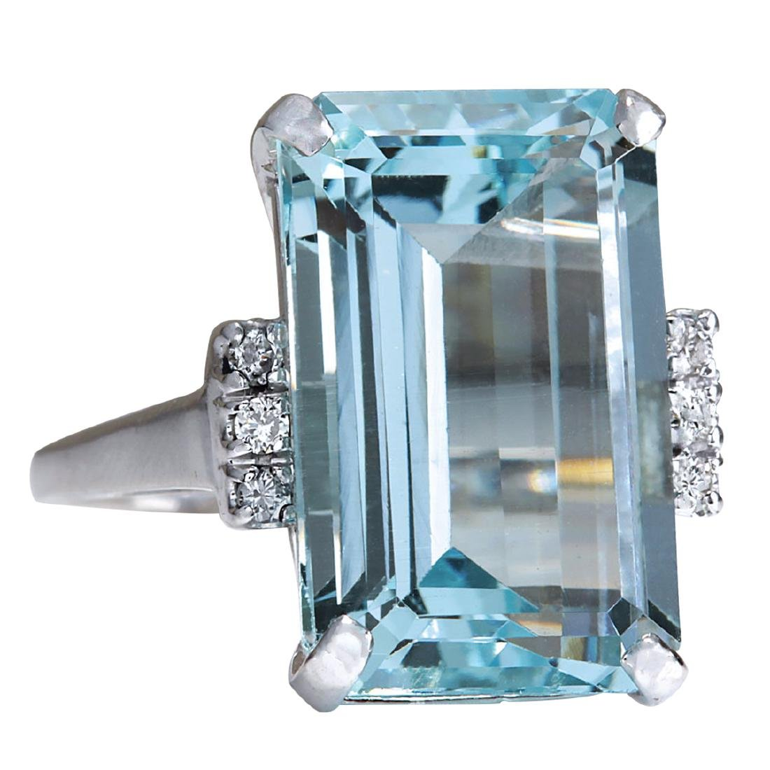 16.42CTW Natural Blue Aquamarine Diamond Ring 18K Solid - 2
