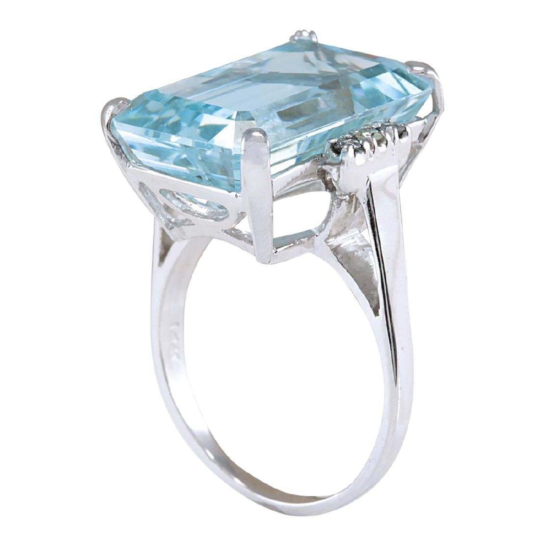 16.42CTW Natural Blue Aquamarine Diamond Ring 18K Solid - 3