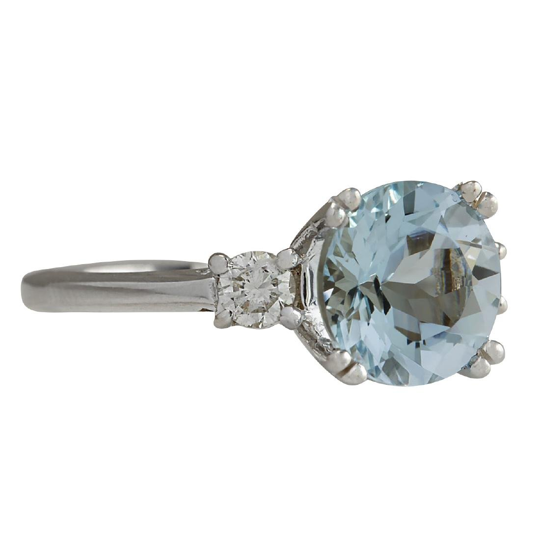 2.33CTW Natural Aquamarine And Diamond Ring In 18K - 2