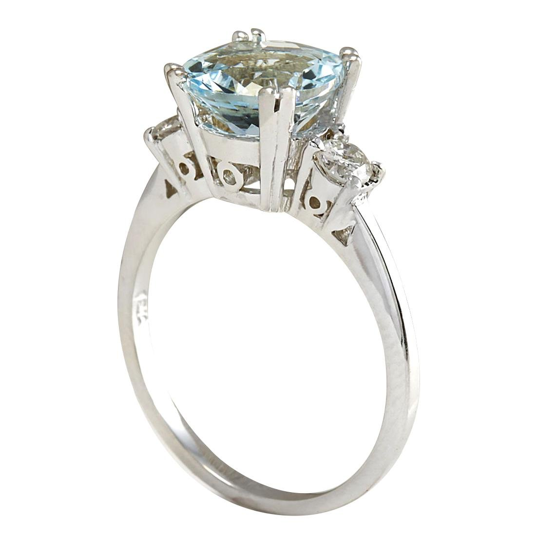 2.33CTW Natural Aquamarine And Diamond Ring In 18K - 3