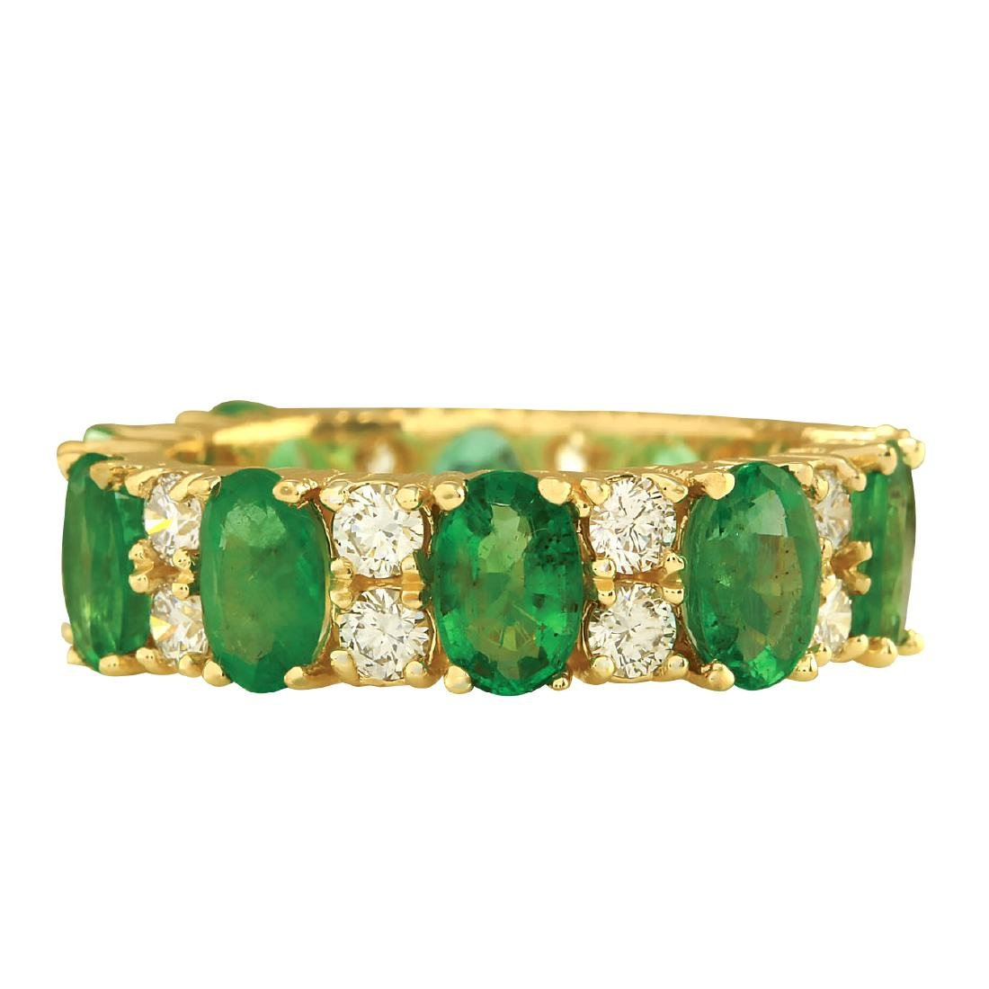 5.71CTW Natural Emerald And Diamond Ring In 18K Yellow