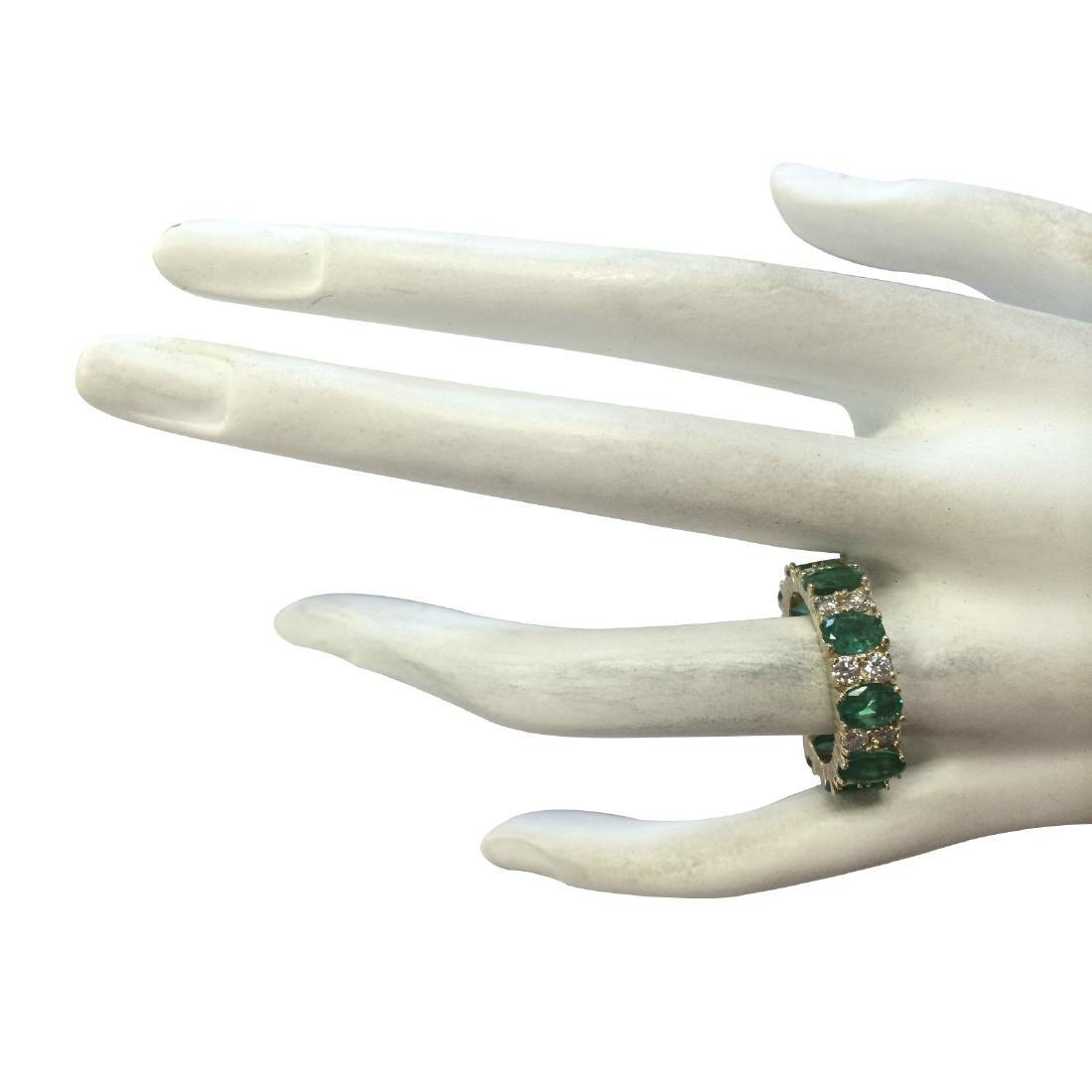 5.71CTW Natural Emerald And Diamond Ring In 18K Yellow - 4