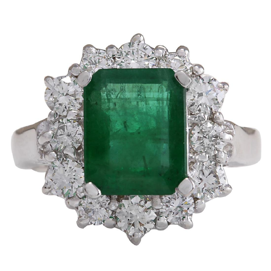 3.49CTW Natural Emerald And Diamond Ring 18K Solid