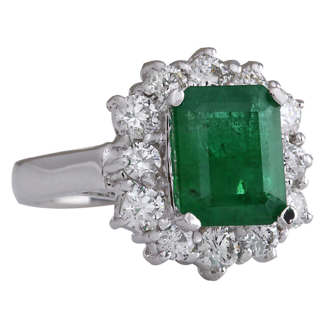 3.49CTW Natural Emerald And Diamond Ring 18K Solid - 2