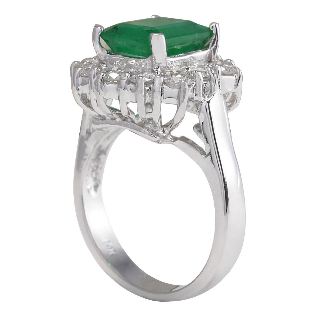 3.49CTW Natural Emerald And Diamond Ring 18K Solid - 3