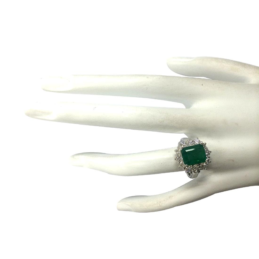 3.49CTW Natural Emerald And Diamond Ring 18K Solid - 4