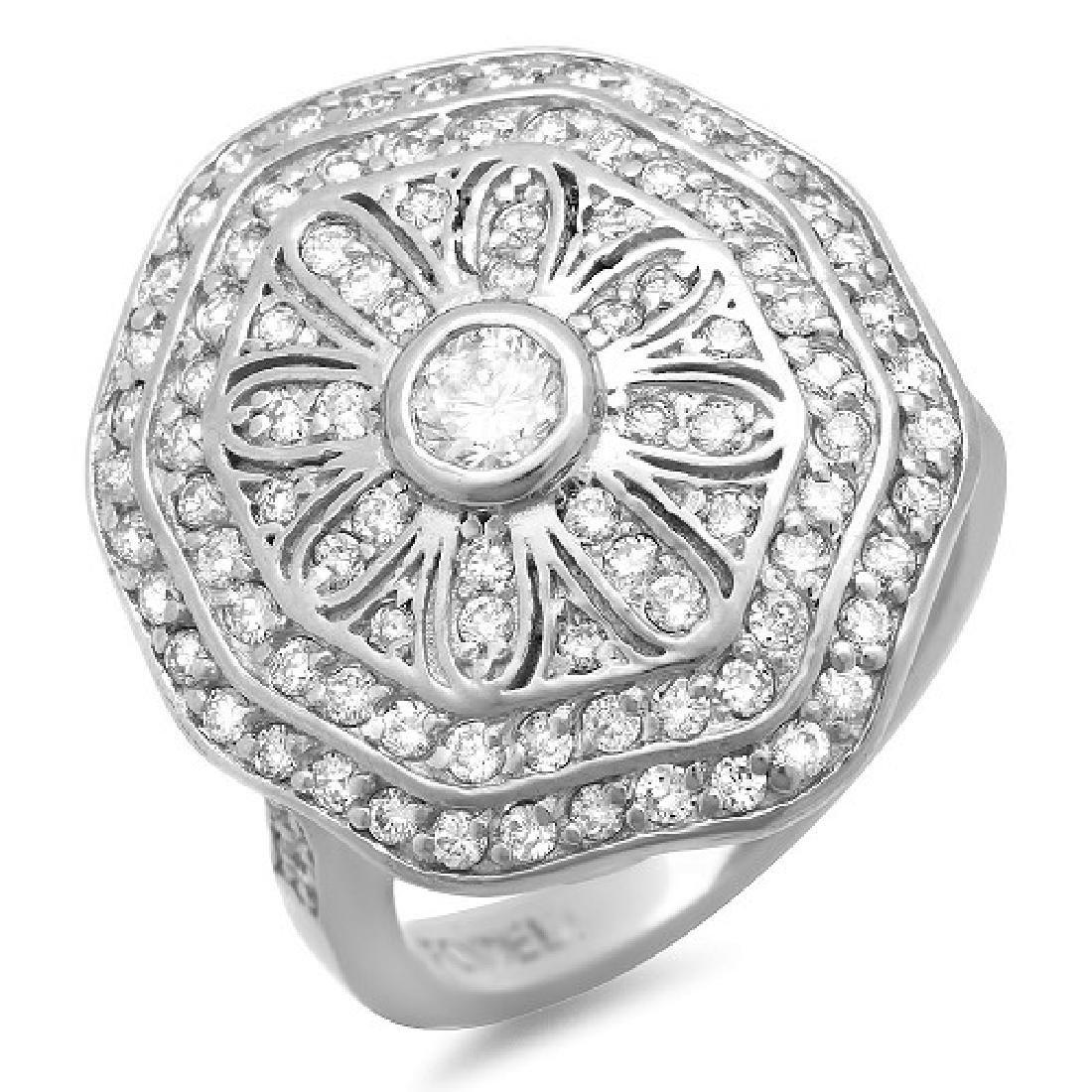 1.10 Carat Natural Diamond 18K Solid White Gold Ring