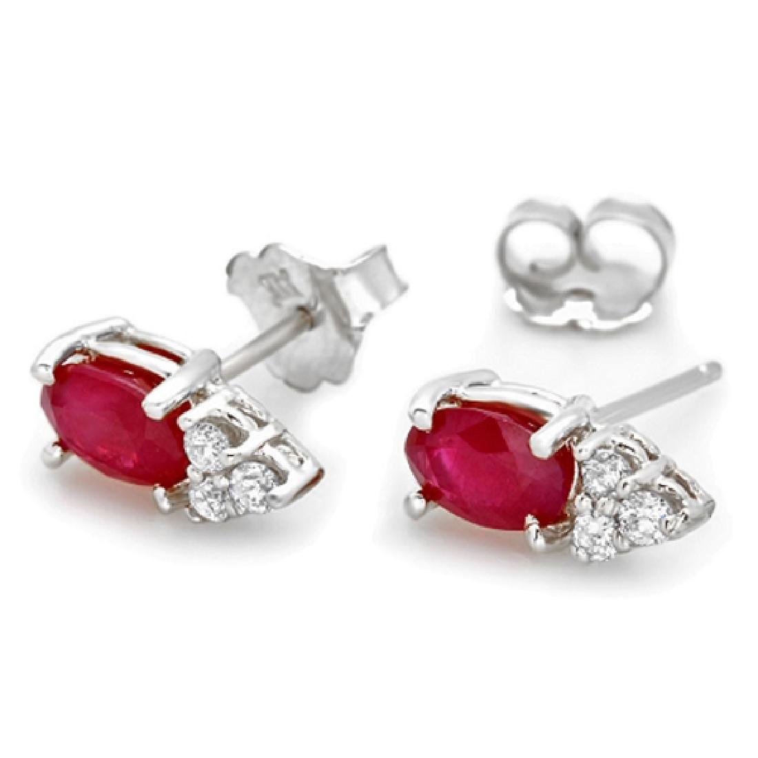 1.44 Carat Natural Ruby 18K Solid White Gold Diamond - 2