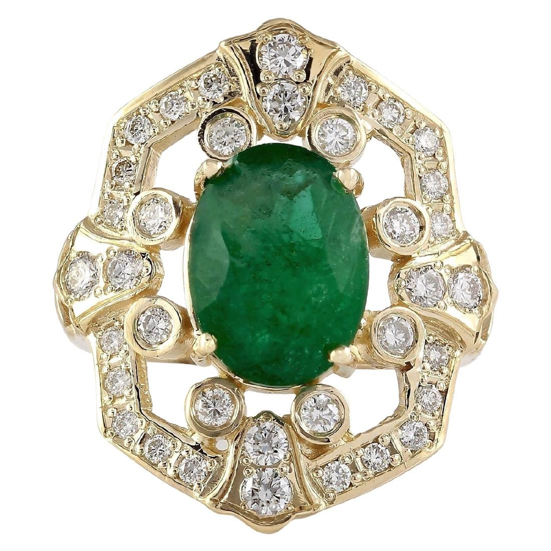 6.00 CTW Natural Emerald And Diamond Ring In 18K Yellow