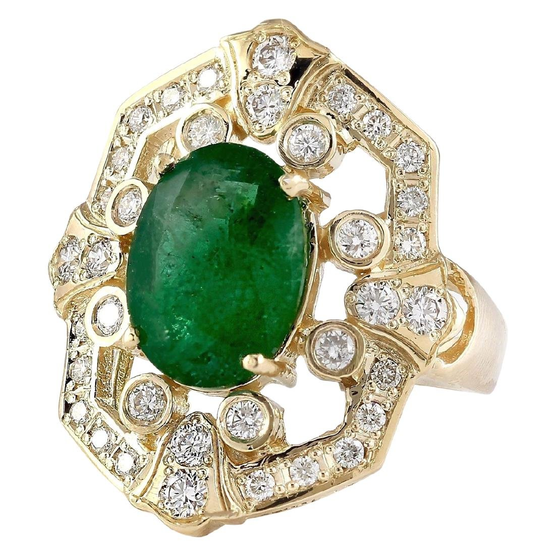 6.00 CTW Natural Emerald And Diamond Ring In 18K Yellow - 2