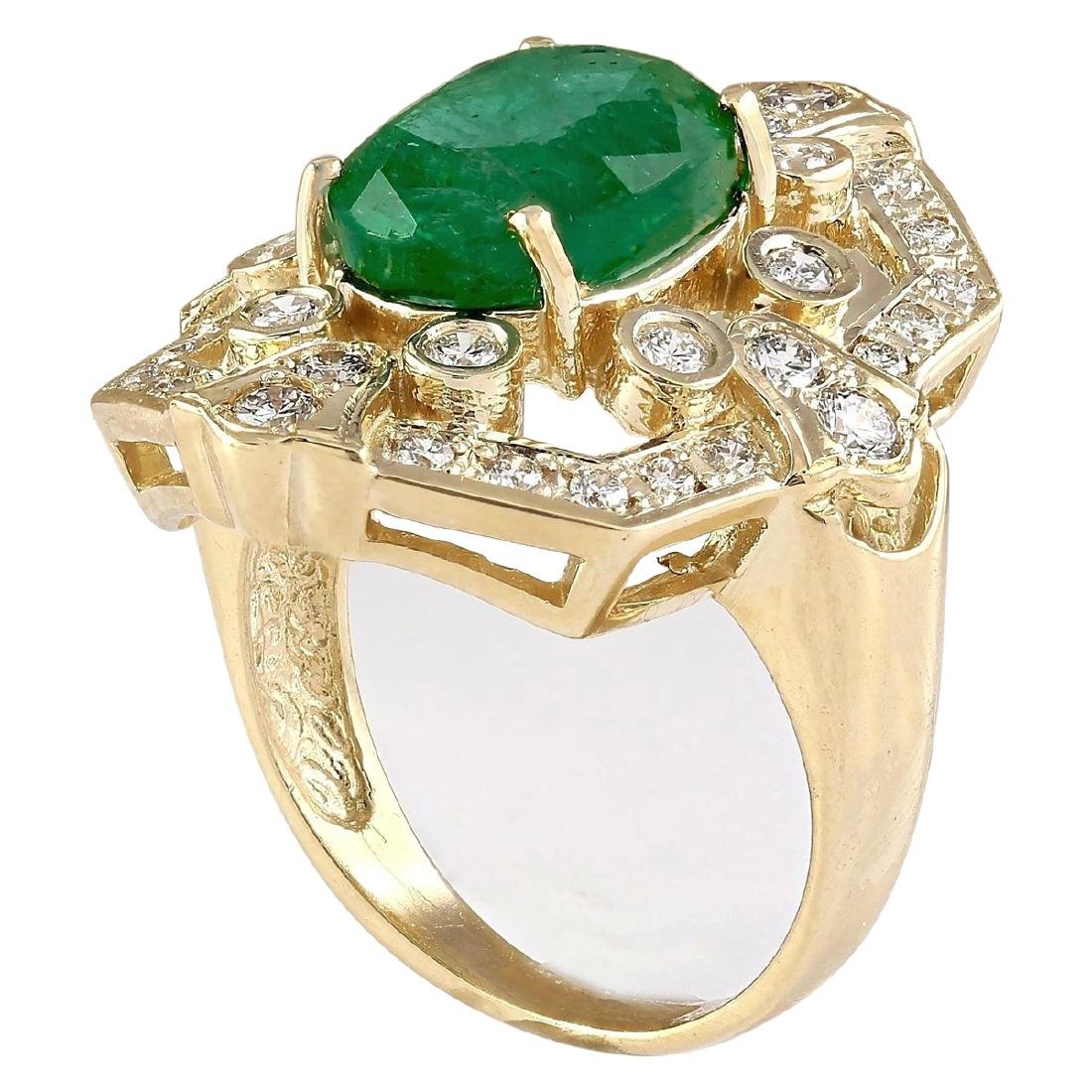 6.00 CTW Natural Emerald And Diamond Ring In 18K Yellow - 3
