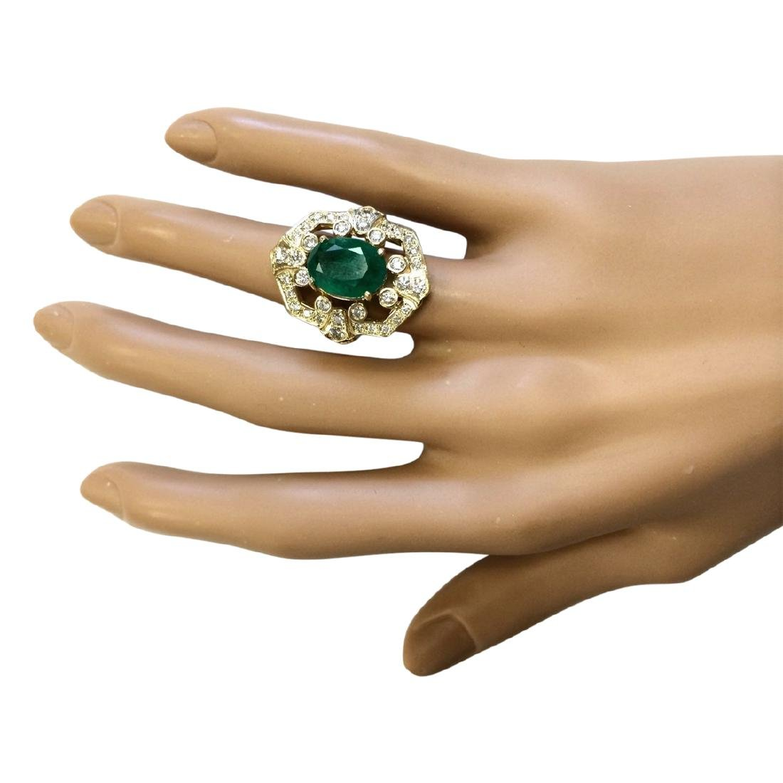 6.00 CTW Natural Emerald And Diamond Ring In 18K Yellow - 4