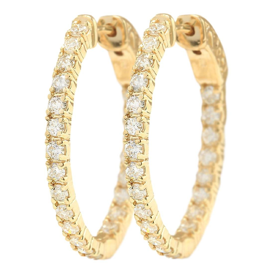 2.00 CTW Natural Diamond Hoop Earrings 18K Solid Yellow